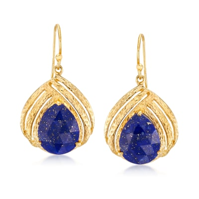 Lapis Drop Earrings in 18kt Gold Over Sterling