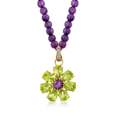 C. 1980 Vintage .45 Carat Amethyst and 5.25 ct. t.w. Peridot Flower Pendant and 4mm Amethyst Bead Necklace with 14kt Yellow Gold