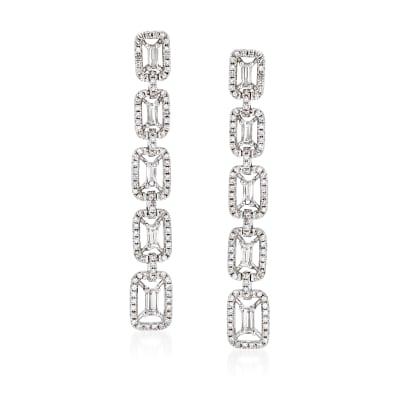 1.02 ct. t.w. Diamond Linear-Link Drop Earrings in 18kt White Gold