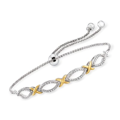 .10 ct. t.w. Diamond Bolo Bracelet in Sterling Silver and 18kt Gold Over Sterling