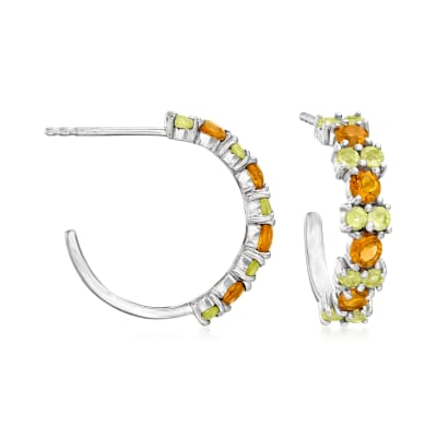1.00 ct. t.w. Peridot and .80 ct. t.w. Citrine C-Hoop Earrings in Sterling Silver