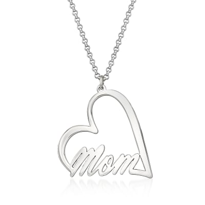 """Sterling Silver """"Mom"""" Heart Pendant Necklace"""