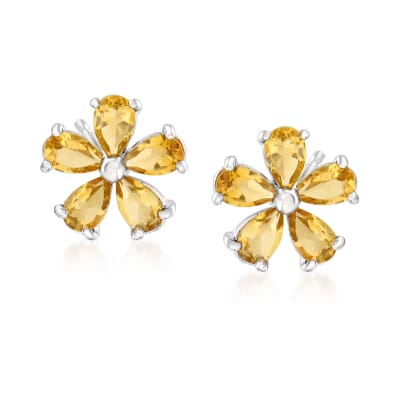 2.00 ct. t.w. Citrine Flower Earrings in Sterling Silver