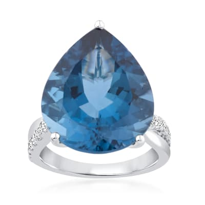 20.00 Carat London Blue Topaz Ring with .33 ct. t.w. Diamonds in 14kt White Gold