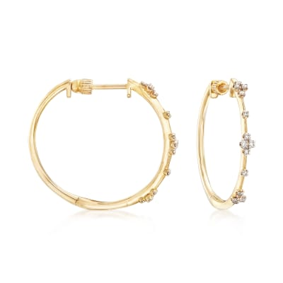 Gabriel Designs .14 ct. t.w. Diamond Station Hoops in 14kt Yellow Gold