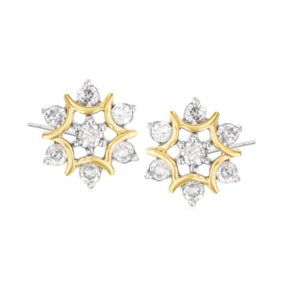.25 ct. t.w. Diamond Floral Earrings in Sterling Silver and 14kt Yellow Gold