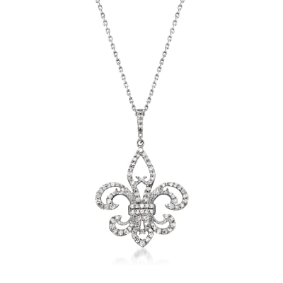 .50 ct. t.w. Diamond Fleur-De-Lis Pendant Necklace in Sterling Silver