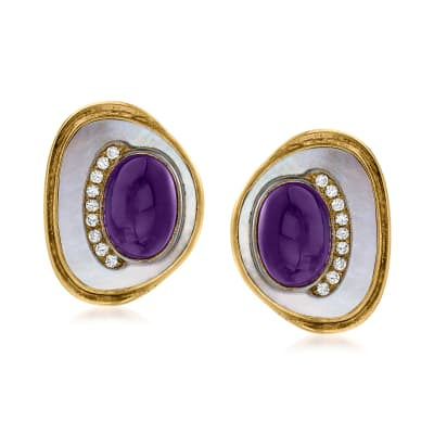 C. 1980 Vintage Mother-Of-Pearl, 9.00 ct. t.w. Amethyst and .50 ct. t.w. Diamond Clip-On Earrings in 18kt Yellow Gold