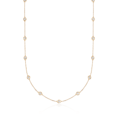 2.00 ct. t.w. Bezel-Set Diamond Station Necklace in 14kt Yellow Gold