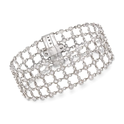 C. 1990 Vintage 3.90 ct. t.w. Diamond Mesh-Style Bracelet in 18kt White Gold