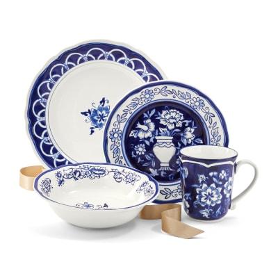 """Blue Garden"" Hand-Painted Stoneware Dinnerware"