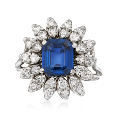 C. 1970 Vintage 2.12 Carat Sapphire and .70 ct. t.w. Diamond Ring in 14kt White Gold