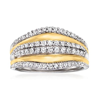 .50 ct. t.w. Diamond Three-Row Ring in Two-Tone Sterling Silver