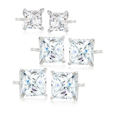 6.00 ct. t.w. CZ Jewelry Set: Three Pairs of Princess-Cut Stud Earrings in Sterling Silver