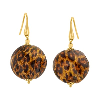Italian Leopard-Print Murano Glass Bead Drop Earrings in 18kt Gold Over Sterling