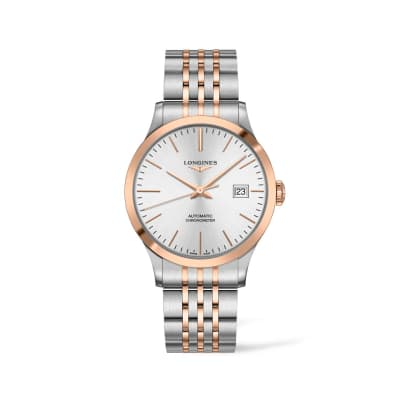 Longines Record Men's 40mm Automatic Stainless Steel and 18kt Rose Gold Watch