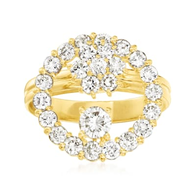 C. 1980 Vintage 1.50 ct. t.w. Diamond Cocktail Ring in 18kt Yellow Gold
