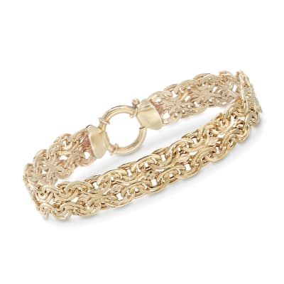 18kt Gold Over Sterling Silver Double Oval-Link Bracelet