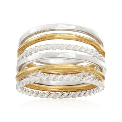 Sterling Silver and 14kt Yellow Gold Over Sterling Silver Set: Six Stackable Rings