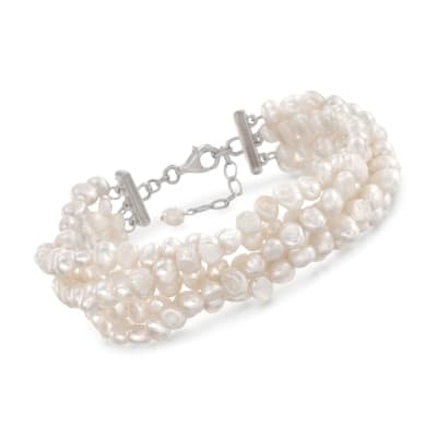 Cultured Pearl Multi-Strand Twist Bracelet with Sterling Silver Clasp