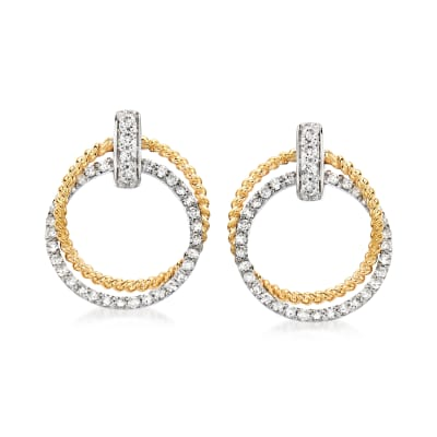 .59 ct. t.w. Diamond Doorknocker Earrings in 14kt Two-Tone Gold
