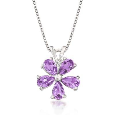 1.00 ct. t.w. Amethyst Flower Pendant Necklace in Sterling Silver