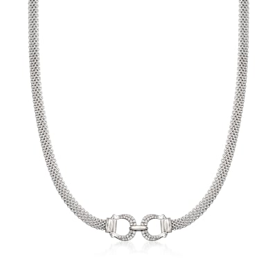 .20 ct. t.w. CZ Horsebit Necklace in Sterling Silver