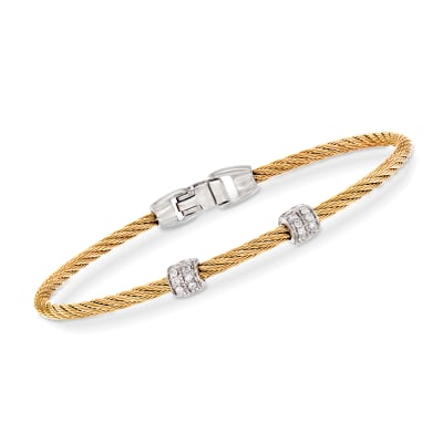 "ALOR ""Classique"" .13 ct. t.w. Diamond Yellow Stainless Steel Cable Bracelet with 18kt White Gold"