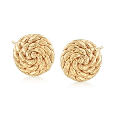 Italian 18kt Yellow Gold Twisted Circle Earrings