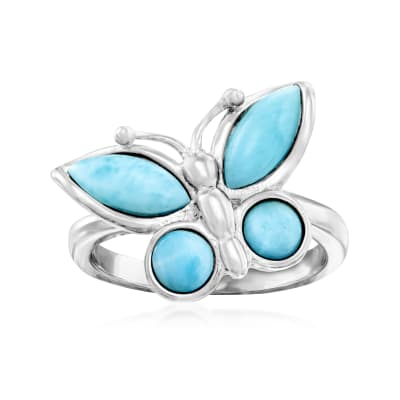 Larimar Butterfly Ring in Sterling Silver