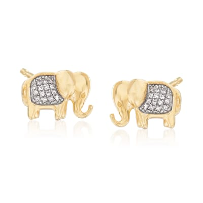 Elephant Earrings with Diamond Accents in 14kt Yellow Gold