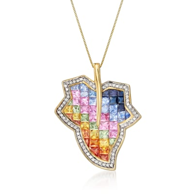 6.90 ct. t.w. Multicolored Sapphire and .35 ct. t.w. Diamond Leaf Pendant Necklace in 14kt Yellow Gold
