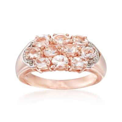 1.50 ct. t.w. Morganite Cluster Ring in 14kt Rose Gold Over Sterling