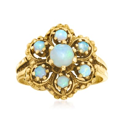 C. 1970 Vintage Opal Cluster Flower Ring in 14kt Yellow Gold