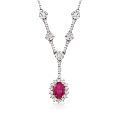 1.00 Carat Ruby and .70 ct. t.w. Diamond Y-Necklace in 14kt White Gold