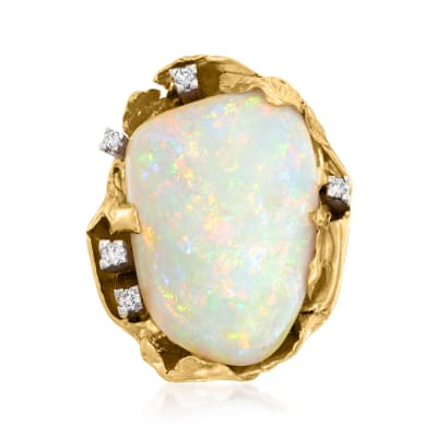 C. 1970 Vintage Opal and .15 ct. t.w. Diamond Cocktail Ring in 18kt Yellow Gold