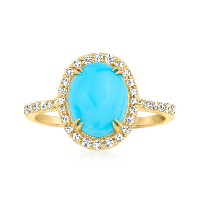 Turquoise Ring with .32 ct. t.w. Diamonds in 14kt Yellow Gold