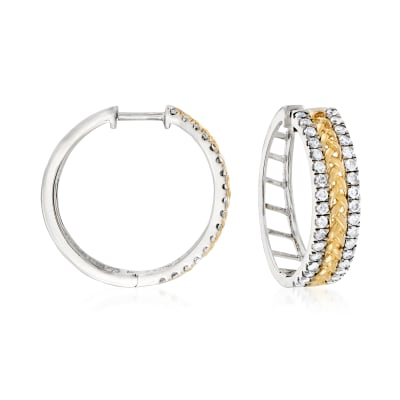 1.00 ct. t.w. Diamond Braided Hoop Earrings in Sterling Silver and 14kt Yellow Gold