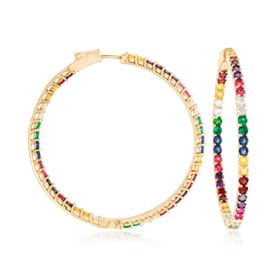 2.50 ct. t.w. Multicolored CZ Inside-Outside Hoop Earrings in 18kt Gold Over Sterling