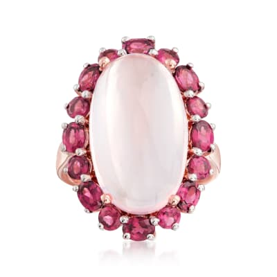 12.00 Carat Rose Quartz and 6.30 ct. t.w. Rhodolite Garnet Ring in 18kt Rose Gold Over Sterling