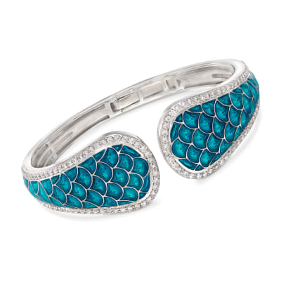 "Belle Etoile ""Marina"" Sea-Blue Enamel and 3.15 ct. t.w. CZ Cuff Bracelet in Sterling Silver"