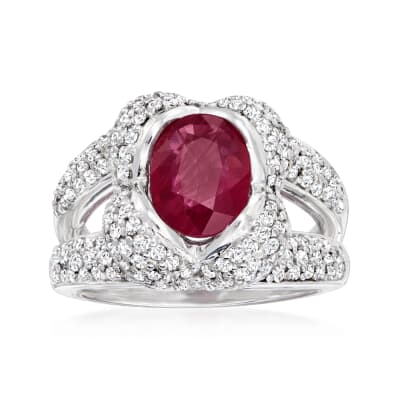 2.20 Carat Ruby and 1.30 ct. t.w. Diamond Ring in 14kt White Gold