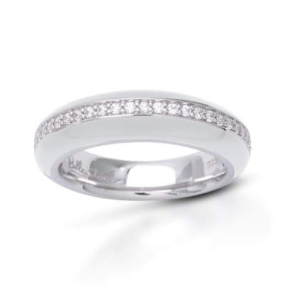 """Belle Etoile """"Tenuto"""" White Enamel and .80 ct. t.w. CZ Ring in Sterling Silver"""