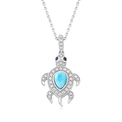 Larimar and .55 ct. t.w. White Zircon Turtle Pendant Necklace in Sterling Silver