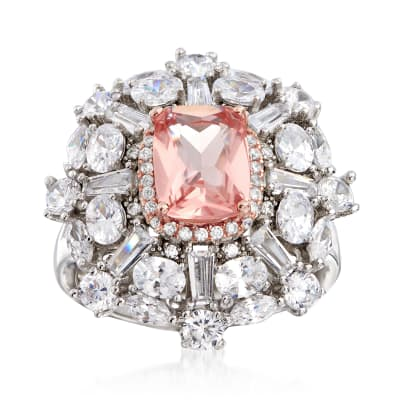 4.30 Carat Pink CZ and 3.85 ct. t.w. CZ Cluster Ring in Sterling Silver
