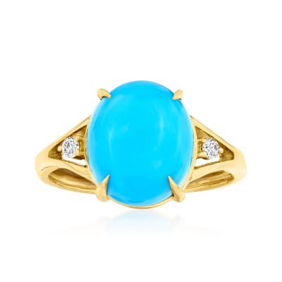Turquoise Ring with Diamond Accents in 14kt Yellow Gold