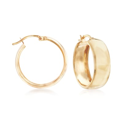 18kt Yellow Gold Over Sterling Silver Hoop Earrings