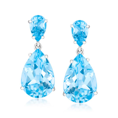 14.00 ct. t.w. Sky Blue Topaz Drop Earrings in Sterling Silver