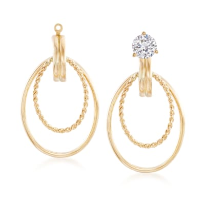 14kt Yellow Gold Double Oval Drop Earring Jackets