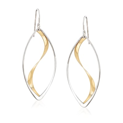 Sterling Silver and 14kt Yellow Gold Swirl Drop Earrings
